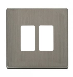 Click Definity S/Steel 2 Gang Grid Pro Front Plate SCP20402SS