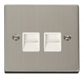 Click Deco Stainless Steel Master Telephone Socket VPSS121WH