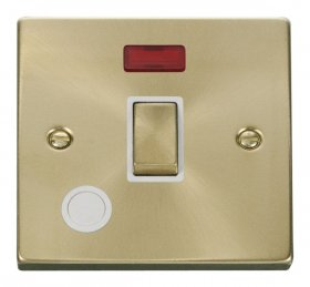 Click Deco Satin Brass 20A DP Switch Neon Flex Outlet VPSB523WH
