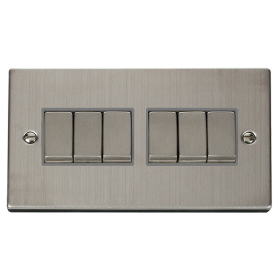 Click Deco Stainless Steel 6 Gang 2 Way Switch VPSS416GY