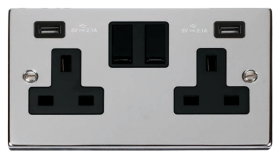 Click Deco Polished Chrome Twin USB Double Socket VPCH780BK