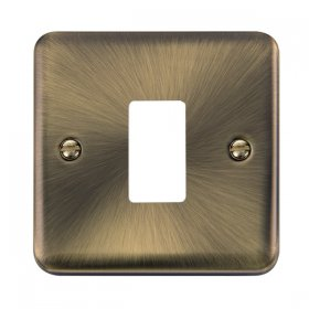 Click Deco Plus Ant/Brass 1 Gang Grid Pro Front Plate DPAB20401