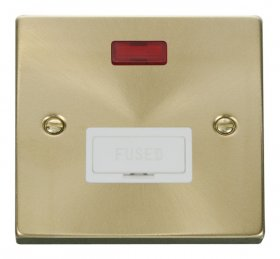 Click Deco Satin Brass Unswitched Fused Spur with Neon VPSB653WH