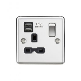 Knightsbridge Polished Chrome 13A Dual USB Single Socket CL91PC