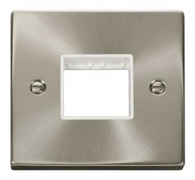 Click Deco Satin Chrome Single Plate 2 Gang Aperture VPSC402WH