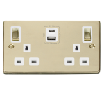 Click Deco Polished Brass Type A & C USB Double Socket VPBR586WH
