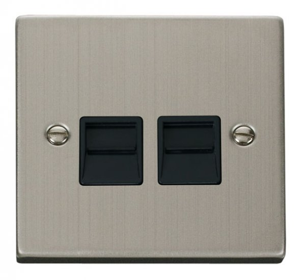 Click Deco Stainless Steel Secondary Telephone Socket VPSS126BK