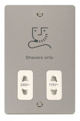 Click Define Pearl Nickel Dual Voltage Shaver Socket FPPN100WH