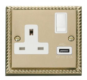 Click Deco Georgian Brass USB Single Switched Socket GCBR771WH