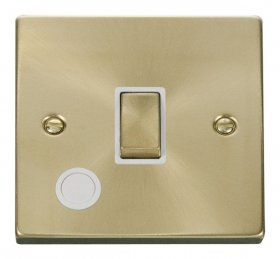 Click Deco Satin Brass 20A DP Switch with Flex Outlet VPSB522WH