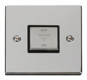 Click Deco Polished Chrome 3 Pole Fan Isolator Switch VPCH520BK