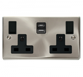Click Deco Satin Chrome Type A & C USB Double Socket VPSC786BK