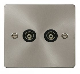 Click Define Brushed Steel Twin Isolated Coaxial Point FPBS159BK