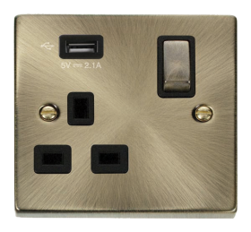 Click Deco Antique Brass USB Single Switched Socket VPAB571UBK