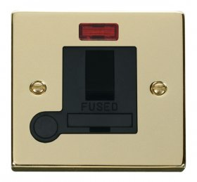 Click Deco Polished Brass Switch Fused Spur Neon + F/O VPBR052BK