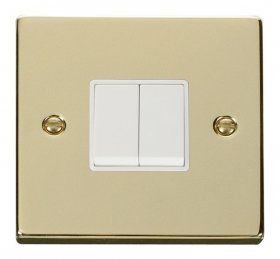 Click Deco Polished Brass 2 Gang 2 Way Switch VPBR012WH