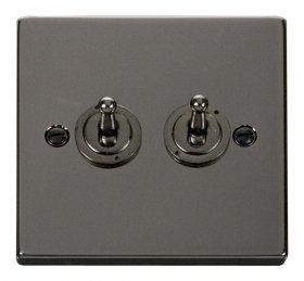 Click Deco Black Nickel 2 Gang 2 Way Toggle Switch VPBN422