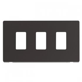 Click Definity Black 3 Gang Grid Pro Front Plate SCP20403BK