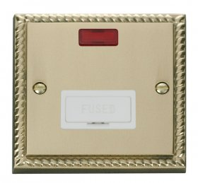Click Deco Georgian Brass Unswitched Fused Spur + Neon GCBR653WH