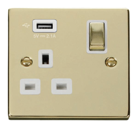Click Deco Polished Brass USB Single Switched Socket VPBR571UWH