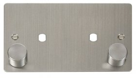Click Define Stainless Steel Twin Dimmer Plate 1630W Max FPSS186