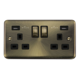 Click Deco Plus Twin USB Double Switched Socket DPAB580BK