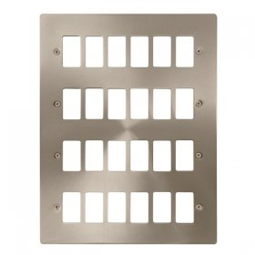 Click Define Brushed Steel 24 Gang Grid Pro Plate FPBS20524