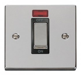 Click Deco Polished Chrome 1 Gang 45A DP Switch + Neon VPCH501BK