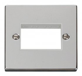 Click Polished Chrome Single Plate 3 Gang Aperture VPCH403WH
