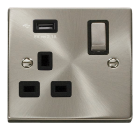 Click Deco Satin Chrome USB Single Switched Socket VPSC571UBK