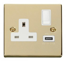 Click Deco Polished Brass USB Single Switched Socket VPBR771WH