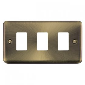 Click Deco Plus Ant/Brass 3 Gang Grid Pro Front Plate DPAB20403