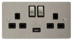 Click Define Stainless Steel USB Switched Socket FPSS570BK