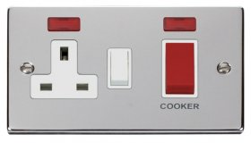 Click Deco Polished Chrome 45A DP Cooker Socket + Neon VPCH205WH
