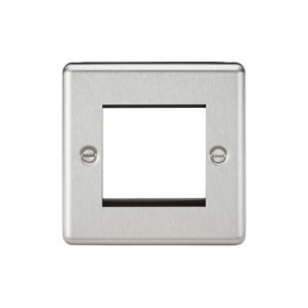 Knightsbridge Brushed Chrome 2 Gang Modular Face Plate CL2GBC