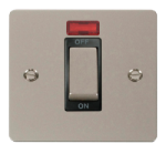 Click Define Pearl Nickel 45A Double Pole Switch Neon FPPN501BK