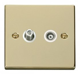 Click Deco Polished Brass Isolated Sat & Coax Socket VPBR157WH