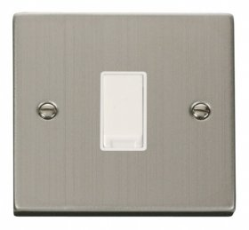 Click Deco Stainless Steel 1 Gang 2 Way Switch VPSS011WH