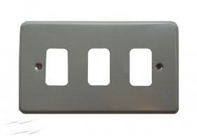 MK Grid Plus 3 Gang Surface Metal Frontplate K3493ALM