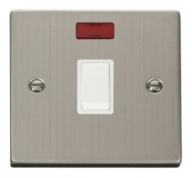 Click Deco Stainless Steel 20A DP Switch + Neon VPSS623WH