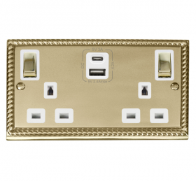 Click Deco Georgian Brass Type A & C USB Double Socket GCBR586WH