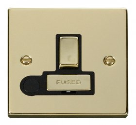 Click Deco Polished Brass Switched Fused Spur + F/O VPBR551BK