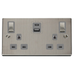 Click Deco S/Steel Type A & C USB Double Socket VPSS586GY