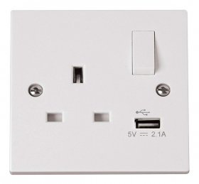Click Polar 13A 1 Gang Switched USB Socket PRW771