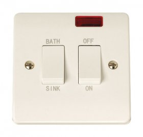 Click Curva CCA024 20A Double Pole Sink Bath Switch + Neon