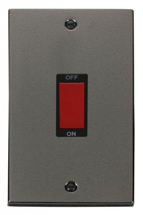 Click Deco Black Nickel 2 Gang 45A Vertical DP Switch VPBN202BK