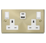 Click Deco Satin Brass Type A & C USB Double Socket VPSB786WH