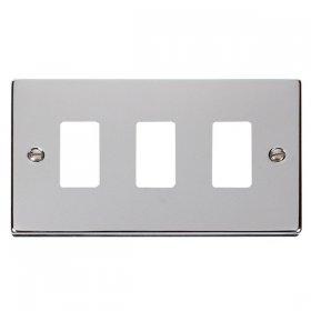 Click Deco Polished Chrome 3 Gang Grid Pro Front Plate VPCH20403
