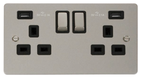 Click Define Pearl Nickel Twin USB Double Socket FPPN580BK