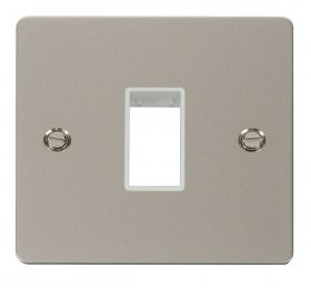 Click Define Pearl Nickel Single Plate 1 Gang Aperture FPPN401WH